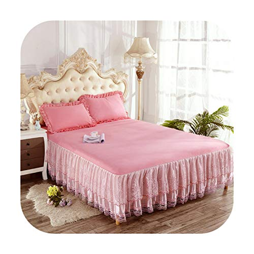 Bedspread Lace Bed Skirt Princess Mattress Cover Pink Beige Purple Summer Korean Style Solid Deco Rbed Cover 150 * 200Cm Full Queen Bedding-Jade-1Pc 150 By 200Cm
