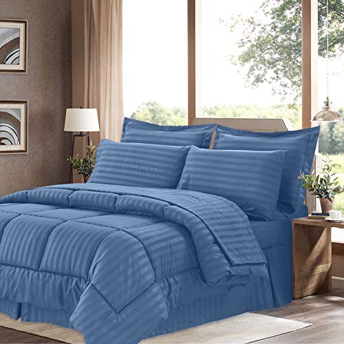 Sweet Home Collection 8 Piece Comforter Set Bag Stripe Design, Bed Sheets, 2 Pillowcases, 2 Shams Down Alternative All Season Warmth, King, Dobby Denim