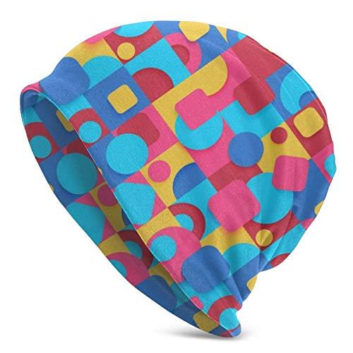 Pop Art Colorido Abstracto geométrico Gorro para Hombres/Mujeres Todas Las Estaciones Gorra Fina de Calavera Holgada Gran tamaño Gorro de Punto para