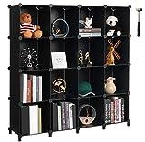 Anwwide LCS016B - Organizer a forma di cubo con 16 cubi per armadio Libreria Libreria per Bambini Organizer per camera da letto Armadio Scaffalature in Plastica Libreria Ufficio Soggiorno colore Nero