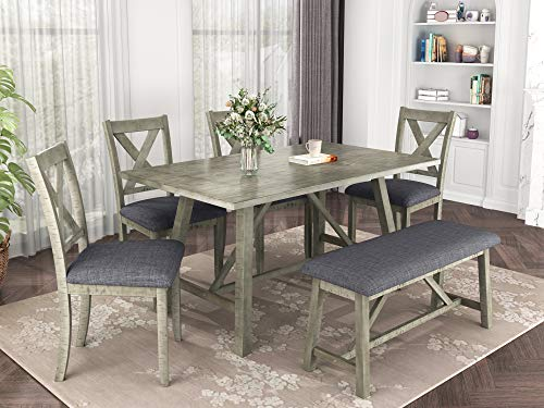 Merax 6 Piece Dining Table Set, Wood Kitchen Table Set Dining Room Table and Chairs with Bench