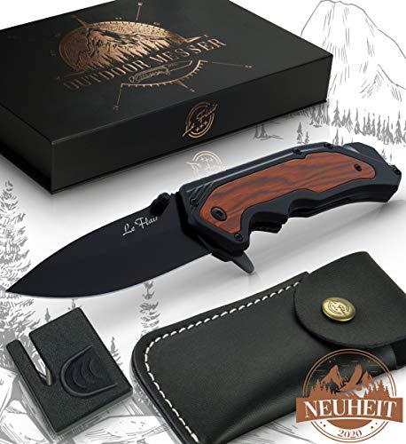 Le Flair Outdoor Messer - Einhandmesser mit 8,5cm Langer Edelstahl Titanklinge - Survivalmesser mit Korrosionsschutz - Bushcraft Messer inkl. Messerschärfer und Magnetbox - Klappmesser