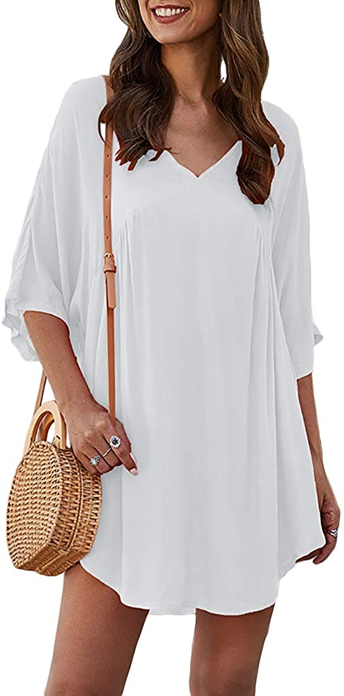 MBR Force Women Loose Beach Tunic Dress V Neck Blouse Cover Up Summer Mini Dresses
