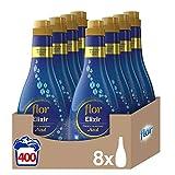 Flor Elixir - Suavizante para la ropa concentrado, aroma azul - Pack de 8, hasta 400 dosis