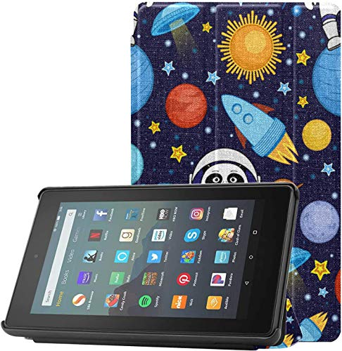 Cover CaseforFireTablet Astronomy Chinese Giant Panda Space FireTabletCaseCover for Fire 7 Tablet (9th Generation, 2019 Release) Lightweight with Auto Sleep/Wake