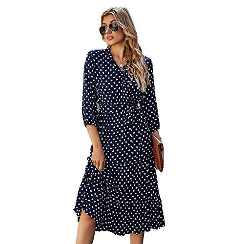 Tonxda Vestido bohemio para mujer de verano, manga 3/4, elegante, maxivestido con cuello en V, volantes, retro, manga corta azul oscuro M