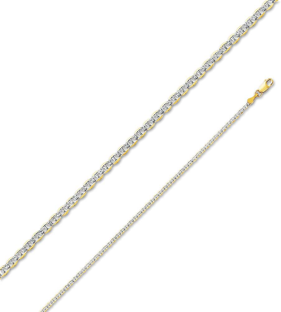 14k Two Tone Yellow and White Gold Solid 2mm Flat Mariner White Pave Diamond-Cut Chain Necklace with Secure Lobster Claw Clasp
