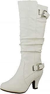 Womens Bag-55 Knee High Buckle Slouched Kitten Heel Boots