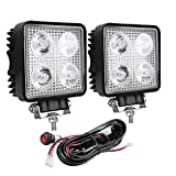 Chelhead 2 Pack 4 Inch Square Led Pod Lights with Wiring Harness 28W Spot Flood Combo Beam Led Driving Lights for A-Pillar Bumper and Roof Mounting Compatible with Jeep Trucks Tractors