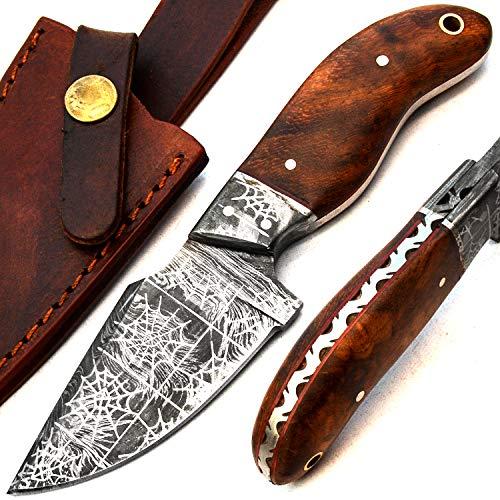 Cuchillos de cocina con diseño de tela de araña de Damasco – el mejor cuchillo de cocina hecho a mano de acero de Damasco con vaina – Acero de Damasco no impreso – Manipulación de superficie – 9726