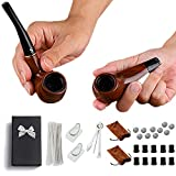 roygra Tobacco Pipe Set 2 Pack Bakelite Beginner Smoking Pipes Kit Included 75 pcs Accessories for Starter Pipe Smoking with Gift Box (A - 2 Pack Set)