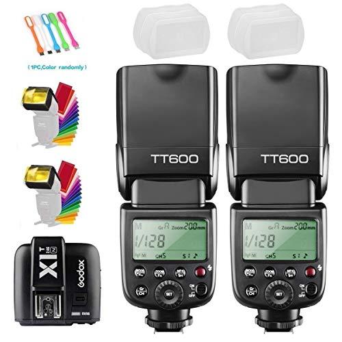 2xGodox TT600 High Speed Sync 2.4G Wireless Camera Flash Speedlite +Godox X1T-N Remote Trigger Transmitter Compatible for Nikon Camera+2xDiffuser+ CONXTRUE USB LED free gift