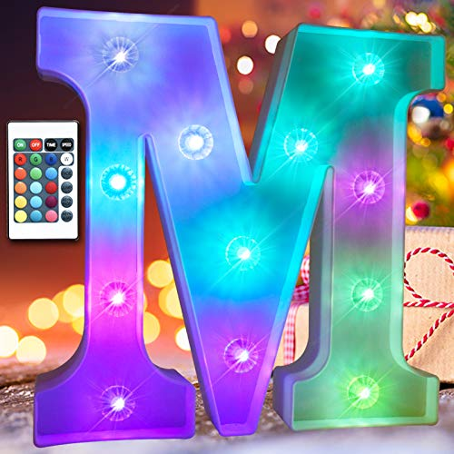 Obrecis 16 Color Changing Light Up Letters Lights 26 Alphabet, Marquee Sign with Remote Control Diamond Bulb Words for Valentine's Day, Halloween, Christmas Decorations- RGB Letter M