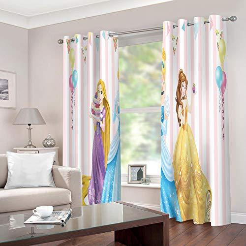 Baryy Disney Princess 3D Impresión, Cortinas Opacas 232x228cm, Poliéster, Lavable en la Lavadora, 2 Piezas Cortinas de Aislamiento Térmico para Sala de Estar y Dormitorio