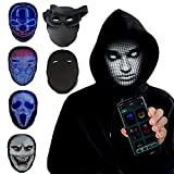 TrendyNow365 Rechargeable LED Face Changing Mask, Halloween Costume, Cosplay, 100+ Designs and Animations, Custom Pictures and Gesture Sensing, 2000+ RGB LED Lights, Bluetooth Smartphone App