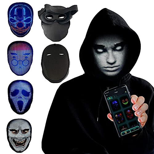 TrendyNow365 Rechargeable LED Face Changing Mask, Cosplay, 100+ Designs and Animations, Custom Pictures and Gesture Sensing, 2000+ RGB LED Lights, Bluetooth Smartphone App