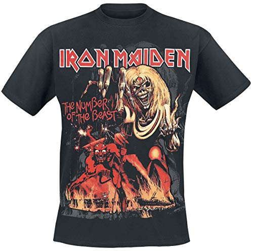 Iron Maiden Number of The Beast Graphic Hombre Camiseta Negro XL, 100% algodón, Regular