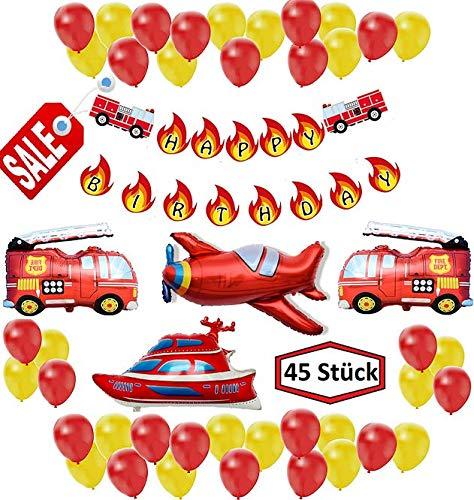 45-teiliges Feuerwehr Set XXL Luftballon Folienballon Deko Kindergeburtstag Deco Geburtstag Auto Flugzeug Schiff