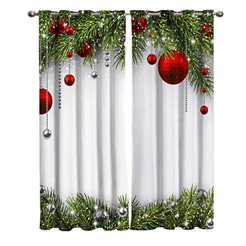 Verdunkelungsvorhang mit Ösen Weihnachtsbaumballdekoration Vorhänge Blickdicht Gardinen für Zimmer Wärmeschutz & Geräuschreduzierung 2 Stücke, B 110 x H 215cm