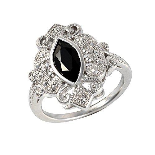 Esse Marcasite Damen - 925 Sterlingsilber Silber Rund Black Spinell Markasit