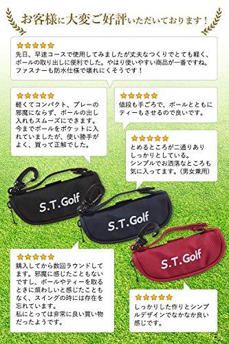 S.T.Golfゴルフボールケースゴルフボールポーチおしゃれなゴルフボールケース軽量ボール3個ティー3本収納(ネイビー)