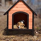 Tangkula Dog House, Wooden Pet Kennel, Outdoor Weather Waterproof Pet House,...
