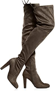 LUSTHAVE Women's Over The Knee Boots - Sexy Drawstring Stretchy Pull on - Comfortable Block Heel