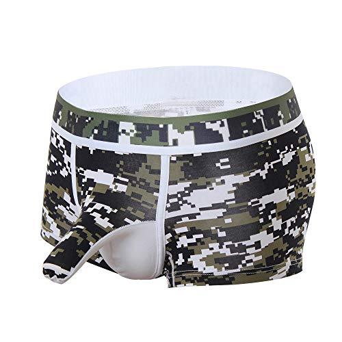 des sous - VêTements Sexy Slip Hommes - Men Splice Shorts Boxeurs Slip Confortable Respirable Bulge Pouch Soft Slip des MéMoires MâLe éLéGant ÉLasticité éLevéE Pantalon de Pyjama