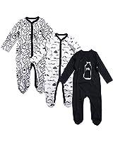 OPAWO Baby Boys' Footed Sleeper Pajamas 3 Pack Long Sleeve Footie Pjs 0-18 Months (6-9 Months, Milk+Beard)