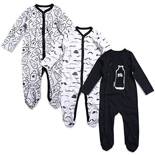OPAWO Baby Boys' Footed Sleeper Pajamas 3 Pack Long Sleeve Footie Pjs 0-18 Months(9-12 Months,Milk+Beard)