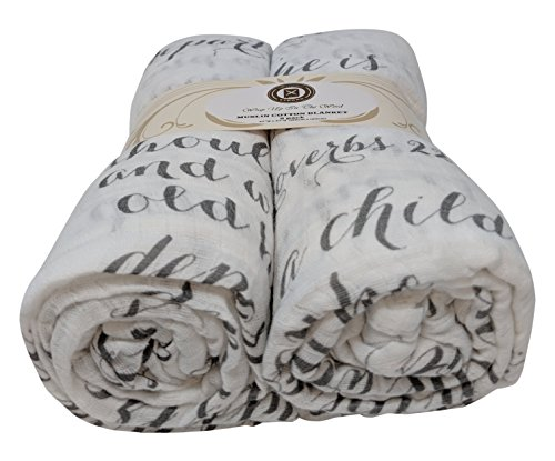 Scripture Strong Proverbs 22:6   Best Muslin Baby Swaddle Blanket Gift Set   100% Cotton Receiving Blankets   Extra Large (4'x4')   Gray, 2 Pack