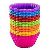 Avana - Moldes reutilizables para magdalenas de silicona de alta calidad, respetuosos con el medio ambiente, 7 colores, juego de 20 unidades