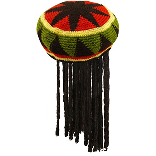 Fancy Dress Adults Knitted Rastafarian Jamaican Rasta Beanie Hat & Dreadlocks Hair