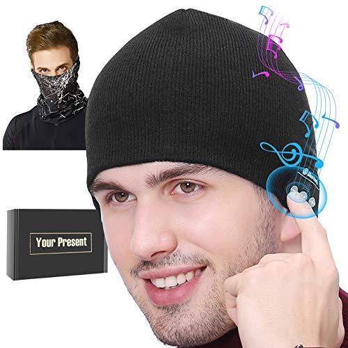 for Him, Bluetooth Beanie for Men, Wireless Music Winter Hat w/Mic, Unique Birthday Tech Gifts for Teen Dad Husband Boyfriend Women w/Gift Box & Magic Neck Gaiter Black
