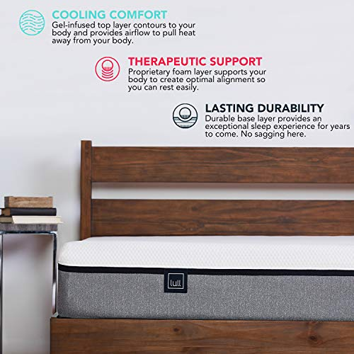 Lull - Memory Foam Mattress | 3 Layers of Premium Memory Foam, Therapeutic Support, Breathable for Ideal Temperature, 100 Night Trial, and 10-Year Warranty