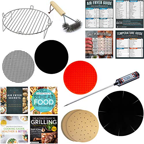 Air Fryer Oven Parchment Paper Liner Sheet Set Compatible with Ninja, Ultrean, Posame, Costzon, Kazila +More | Stainless Steel Rack Accessory + Cooking & Baking Thermometer + Cookbooks + Grill Brush