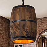 BoTaiDaHong Bar Cafe Lights Wood Wine Barrel Hanging Fixture Ceiling Pendant Lamp Lighting for Island Kitchen,Dining Room,Bedroom,Cafe,Bar,Club
