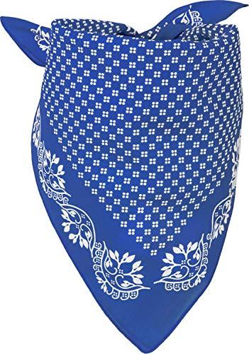 styleBREAKER Damen Dreieckstuch Baumwolle mit Blümchen Muster, Multifunktion Tuch, Halstuch, Kopftuch, Bandana 01016201, Farbe:Blau-Weiß