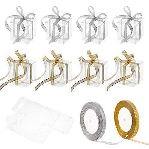 BENECREAT 30PCS PVC Caja Transparente Cajas de Regalo 7x7x7cm con 2 Rollos de Cintas Doradas y Plateadas con Purpurina para Boda, Fiesta, Navidad