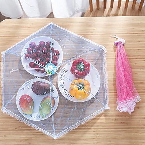 Cubiertas de malla para alimentos, reutilizable, plegable, para proteger a los insectos y moscas lejos de los alimentos, color al azar
