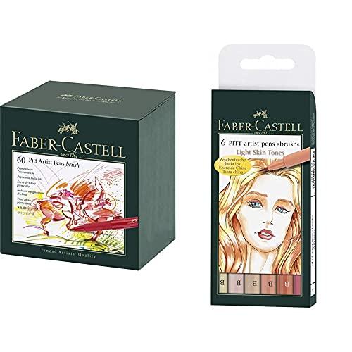 Faber-Castell 167150 Feutre PITT artist pen studio box 60x & 167162 Feutre PITT artist pen couleurs de chair étui de 6