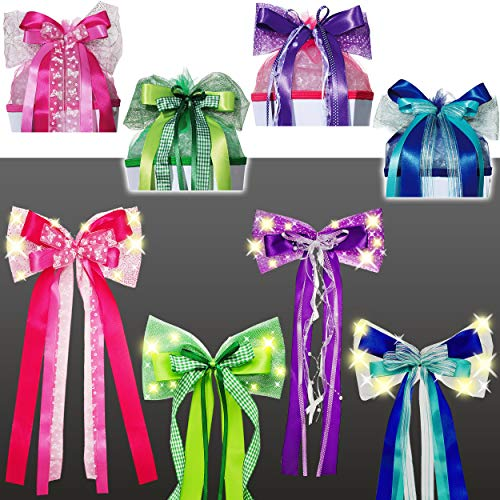alles-meine.de GmbH große - Licht & Leucht - LED Schleife - für Schultüte - pink / rosa & weiß - 65 cm lang - mit edlen Satin Bändern + Glitzer - Tüllband + Schmetterlingsband - ..
