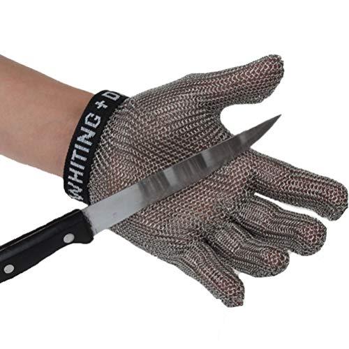 Schnittfeste Handschuhe-XHZ Einzelne Handschuhe aus Edelstahl 304, Küche, Metzger, Schweißen, Arbeitshandschuhe zum Töten von Fischen. Grau, Größe: XS - M. (Size : Large)