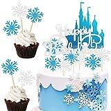MEZHEN Fiocco di Neve Decorazione Torta Frozen Cake Topper Torta Fiocchi Neve Torta Decorazione Blu Torta Decorazione Happy Birthday Cake Topper 42 Pezzi