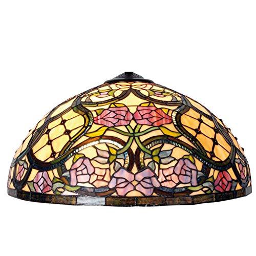 LumiLamp 5LL-9962 Tiffany - Pantalla de lámpara de aprox. Diámetro de 50 cm, cristal decorativo multicolor hecho a mano, pantalla de cristal