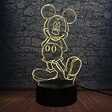 Dibujos animados Kawaii Mickey Mouse 3D Lámpara LED 7 Cambio de color Mesa de dormitorio Luz de noche Ambiente Decorativo Regalo de cumpleaños Luminaria