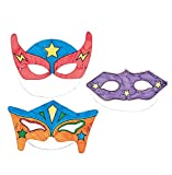 DIY Superhero Mask Craft Kits - Makes 12 - Color Your Own Crafts for Kids and Fun Party Activities