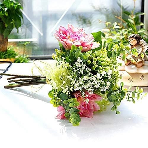 XINTON Künstliche Pflanze Künstliche Pflanzen Seide Nadelkissen Blume Hochzeitsstrauß Braut Hand Hand Hält Blumen Home Tischdekoration