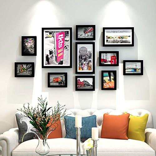 Everyday home Cadre en bois massif, moderne salle à manger salle à manger chambre à coucher cadre photo décoration murale suspension murale combinaison, avec des images, ensemble de 11 cadres de colla