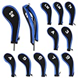 IGNPION Protector de cabeza de palo de golf con cuello largo con cremallera para Titleist, Callaway, Ping, Taylormade, Cobra, Nike (negro + azul)